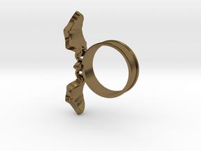 Flying Bat Charm Ring in Polished Bronze (Interlocking Parts): 5 / 49