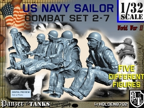 1-32 US Navy Sailors Combat SET 2-7 in Smooth Fine Detail Plastic