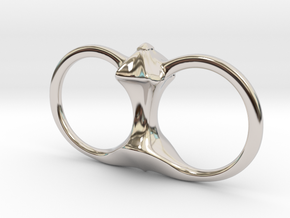 Spike Double Ring in Rhodium Plated Brass: 6 / 51.5