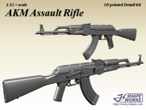 1/12+ AKM Assault Rifle in Smoothest Fine Detail Plastic: 1:12