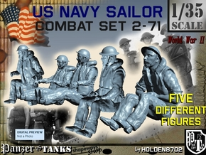 1-35 US Navy Sailors Combat SET 2-71 in Smooth Fine Detail Plastic