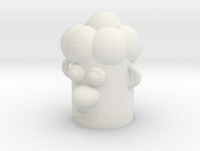 Cartoonish Human Head in White Natural Versatile Plastic