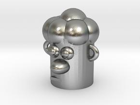 Cartoonish Human Head in Natural Silver