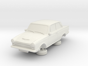 1-87 Ford Cortina Mk1 2 Door in White Natural Versatile Plastic