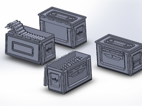 1/48 .50 Cal Ammo cans assorted open and closed (1 in Smooth Fine Detail Plastic