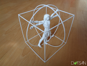 200mm High Vitruvian Man in White Strong & Flexible
