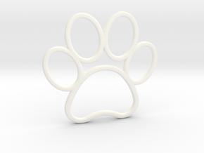 Paw Print Pendant - Large in White Processed Versatile Plastic