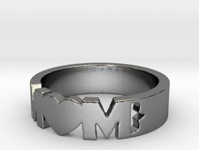 BlakOpal MOM Heart Band in Premium Silver: 6 / 51.5