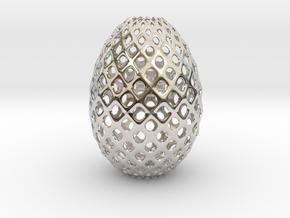 Egg Round in Rhodium Plated Brass