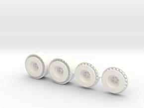 Llantas Delanteras y Tapacubos con Ventolines 1:24 in White Processed Versatile Plastic
