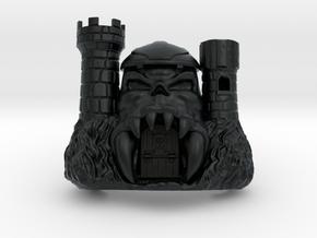 "Skull Castle (with working jawbridge) 3,6"" in Black Hi-Def Acrylate"