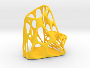 Exia Pen Fork Holder & Phone Stand - S in Yellow Processed Versatile Plastic