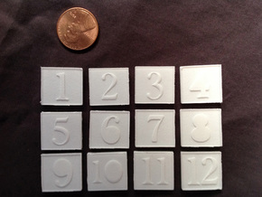 Number Token 1 in White Natural Versatile Plastic