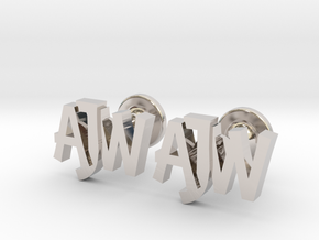 Personalised monogrammed cufflinks in Rhodium Plated Brass