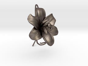 AirCharm Lily Flower - Left in Polished Bronzed Silver Steel