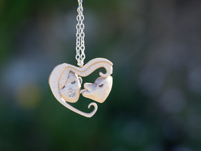 Dog Mom Kisses Pendant in Polished Bronzed Silver Steel