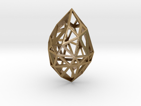 Geometric pendant 'Rough Diamond' (small) in Polished Gold Steel