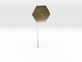 Hexagon Earstud in 14k Gold Plated Brass