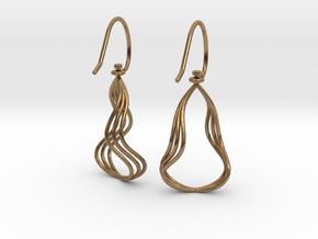 Gentle Flow - Precious Metal Earrings in Interlocking Raw Brass