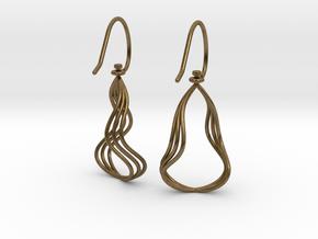 Gentle Flow - Precious Metal Earrings in Natural Bronze (Interlocking Parts)