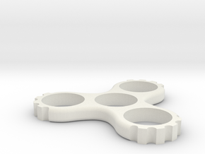 Cog Triple Spinner (Hand/EDC/Fidget Spinner) in White Strong & Flexible