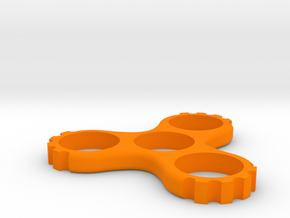 Cog Triple Spinner (Hand/EDC/Fidget Spinner) in Orange Processed Versatile Plastic