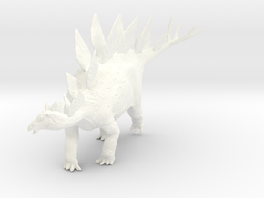 Stegosaurus (Medium / Large size) in White Strong & Flexible Polished: Medium