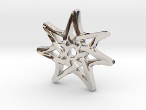 7-Pointed Knotwork Faery Star in Rhodium Plated Brass