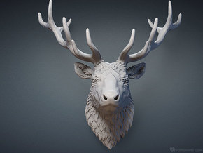Reindeer head, mounted in White Strong & Flexible Polished