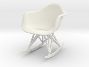 Miniature Eames Molded Shell Armchair Rocker Base in White Natural Versatile Plastic: 1:12