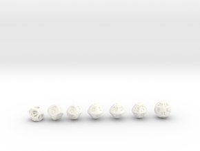 Round Roller Dice in White Processed Versatile Plastic: Polyhedral Set