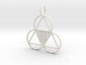 The Meta-Mind Pendant in White Natural Versatile Plastic