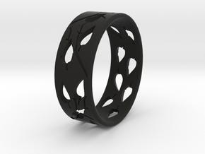 RING-LEAVES in Black Natural Versatile Plastic
