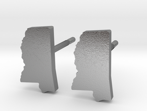 Mississippi State Earrings, post style in Natural Silver