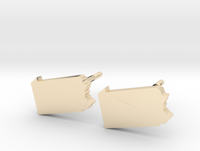 Pennsylvania State Earrings, post style in 14k Gold Plated Brass
