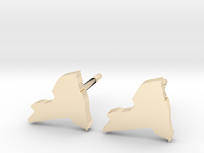 New York State Earrings, post style in 14k Gold Plated Brass