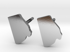 Rhode Island State Earrings, post style in Polished Silver