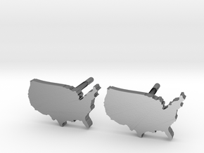 United States Earrings, post style in Polished Silver