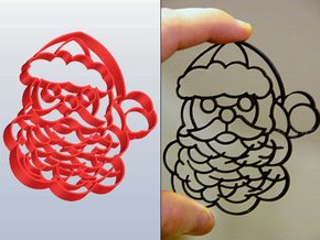 Santa Claus Cookie Cutter (3 layers, 10 mm) in White Natural Versatile Plastic