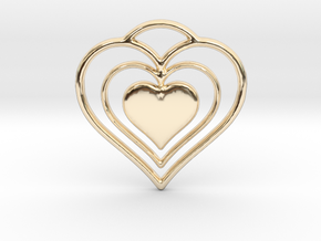 Solid Heart in 14K Yellow Gold