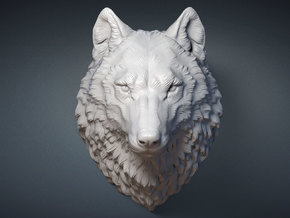 Proud Wolf head. 15cm in White Strong & Flexible
