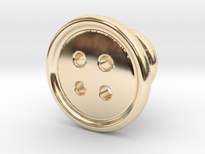 Button Tuxedo Stud - SINGLE in 14k Gold Plated Brass