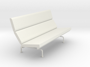 Miniature Eames Compact Sofa - Charles & Ray Eames in White Natural Versatile Plastic: 1:12
