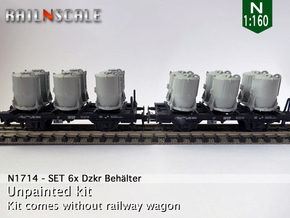 SET 6x Dzkr 501 Behälter (Roco) (N 1:160) in Smooth Fine Detail Plastic