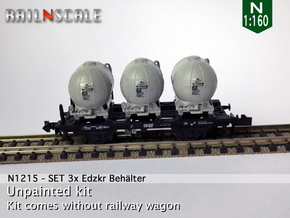 SET 3x Edzkr 571 Behälter (Roco) (N 1:160) in Frosted Ultra Detail