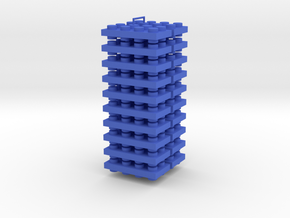Toy Brick Connector Up-Down positive flat, 20 bric in Blue Processed Versatile Plastic