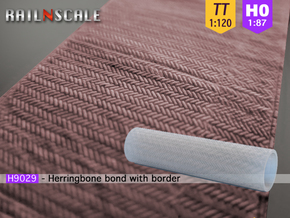 Herringbone bond roller 70mm (TT/H0) in Smooth Fine Detail Plastic