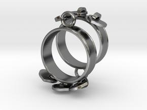 Heart Charm Earrings in Polished Silver (Interlocking Parts)
