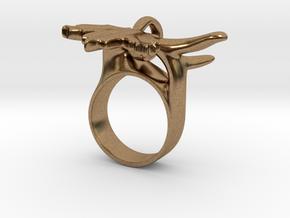 Maple Leaf Charm Ring in Natural Brass (Interlocking Parts): 5 / 49
