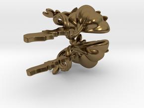 Fairytale Pumpkin Bat Charm Earrings in Polished Bronze (Interlocking Parts)